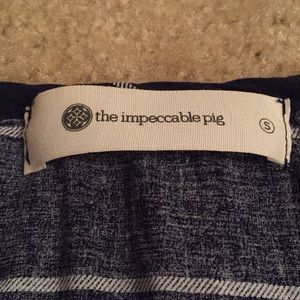 The Impeccable Pig Tops - Navy Blue striped long sleeve shirt